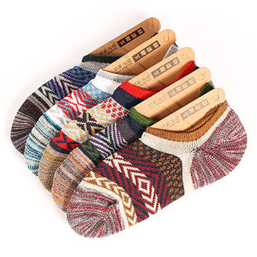 Mens Retro National Style Spell Colors Breathable Invisible Cotton Boat Socks
