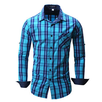 Cotton Plaid Shirt Long Sleeve Lapel Checkered Dress Shirts