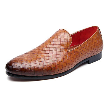 Men Comfy Woven Style Slip On Flats Pointed Toe Shoes