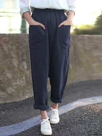 Women Pure Color Cotton Elastic Waist Harlan Pants with Pockets