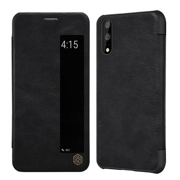 NILLKIN Window Smart Sleep Shockproof Flip PU Leather Full Body Cover Protective Case for Huawei P20