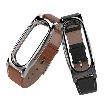 Genuine Leather Watch Band Replacement for Xiaomi Miband 3