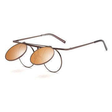 Steam Punk UV400 Sunglasses Polarized Lens Flip-ope Vintage Round