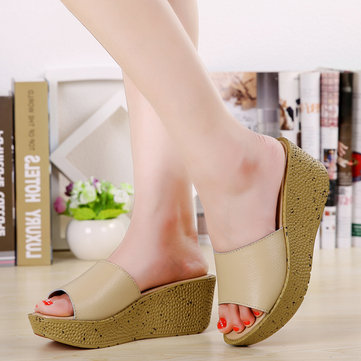Women Summer Beach Chic Sandals Peep Toe Slip On Wedge Sandals