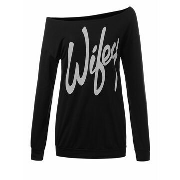Casual Women Letter Printed Off Shoulder Long Sleeve Pullover Sweatshirt