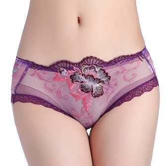 Mid Waist Embroidery Transparent Lace Underwear Panties Sexy Women Lingerie