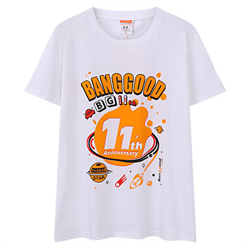 Banggood 11th Anniversary T-shirt Creative DIY Pattern Unisex Leisure Tops Tees