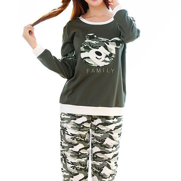 Cotton Camouflage Green Leisure Homewear Pajamas