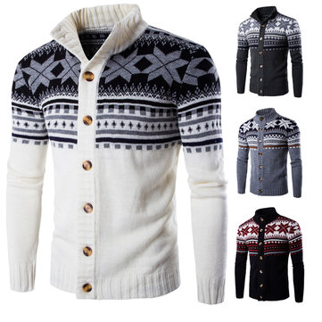 Mens Snowflake Printing Knitted Cardigan Sweater Single Breasted Stand Collar Sweater