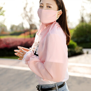 Women Summer Chiffon Breathable Dustproof Mask Driving Anti-UV Sunshade Sleeves to Cover Arms Glove