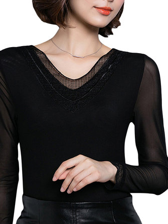 Casual Women Black Long Sleeve Lace V-Neck Slim Basic T-Shirt
