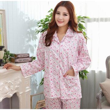 ฤดูใบไม้ผลิหญิงฤดูใบไม้ผลิสุขสบายพิมพ์ดอกไม้ชุดนอนชุดนอนชุดนอนHomewear