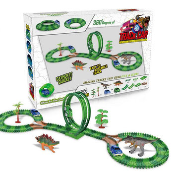 Dinosaur Slot Car Race Track Toys Kids Bridge Battery Toy Park Roller Coaster