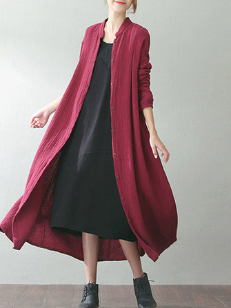 S-5XL Women Vintage Long Sleeve Buttons Loose Maxi Coats