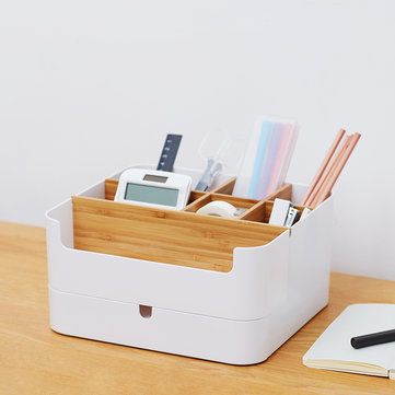 Xiaomi Multi-functional Desktop Storage Box Organizer Bamboo Cosmetic Storage Display Drawer Box