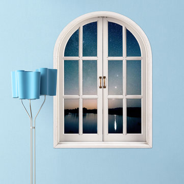 Starry Sky 3D Artificial Window View PAG Wall Decals Lake View Room Stickers Home Wall Decor Gift