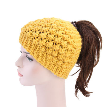 Women Hand Crocheted Warm Headband Ponytail Knit Hat