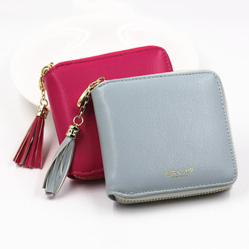 Women Casual Tassel Pu Wallet Lovely Card Coin Holder Portable Zipper Purse