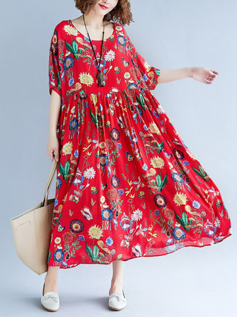 Cotton Floral Print O-neck Elastic Waist Maxi Dress