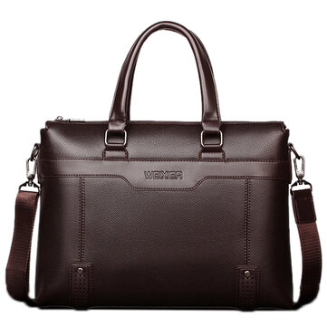 Mannen Kwaliteit PU Leather Simple Business Daily Handtas Laptop Bag Schoudertas