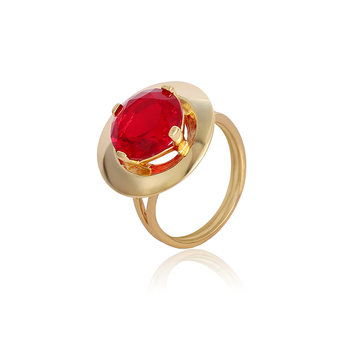 Ruby Crystal Gold Plated Fine Copper Elegant Finger Ring Fine Jewelry for Women