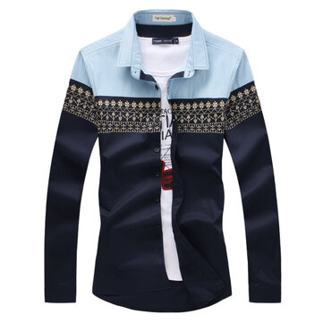 Plus Size Mens National Style Stitching Spell Color Casual Slim Fit Long Sleeve Shirt