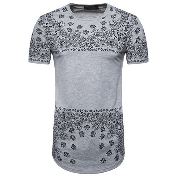 Men's Fashion Printing Hip-Hop Long Style T-Shirts Summer Casual Round Neck Short Sleeve Tops Tees