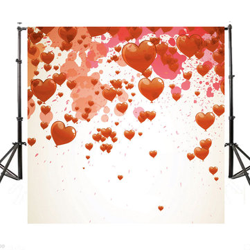 10x10Ft Vinyl Valentine's Day Red Heart Photography Background Photo Backdrop