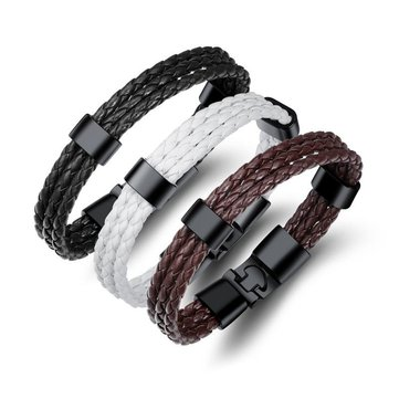 20cm Vintage Leather Bracelet Multilayer Woven Wristhand for Men