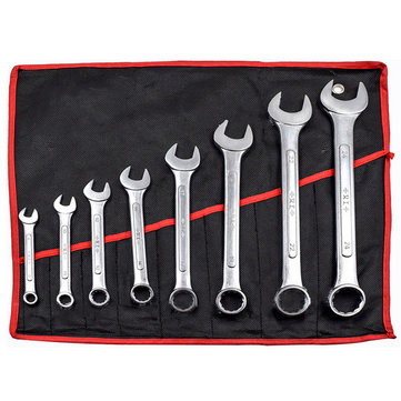 8pcs 45# Steel Combination Spanner Set 8-24mm Garage DIY Workshop Hand Tool