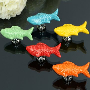 Goldfish Ceramic Knobs Door Furniture Handle Cupboard Cabinet Drawer Pull