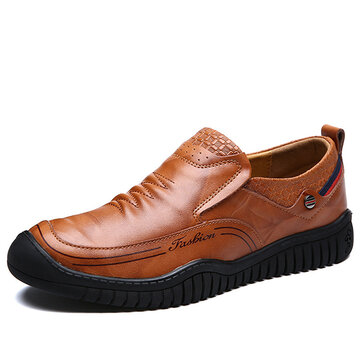 Men Casual Soft Sole Anti Collision Toe Genuine Leather Oxfords Shoes