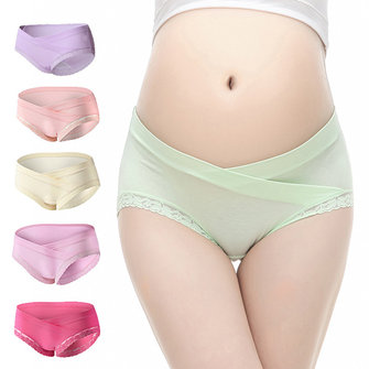 Pregnant Maternity Comfortable Low Waist Cotton Briefs Lace Trimmed Underwear Panties