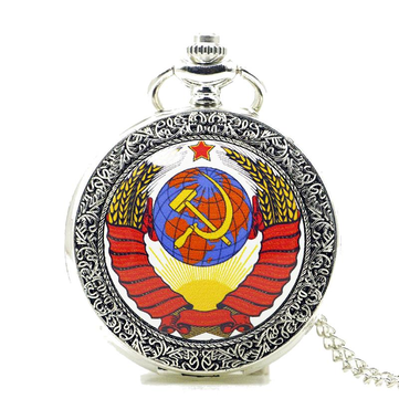 DEFFRUN Fashion Soviet Sickle Hammer Silver Quartz Pocket Watch Pendant Necklace