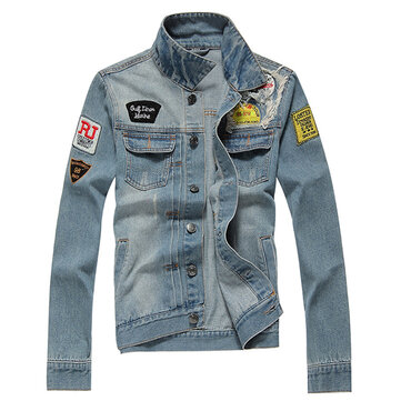 Ripped Stamp Embroidery Denim Jacket Slim Pop Jeans Coat