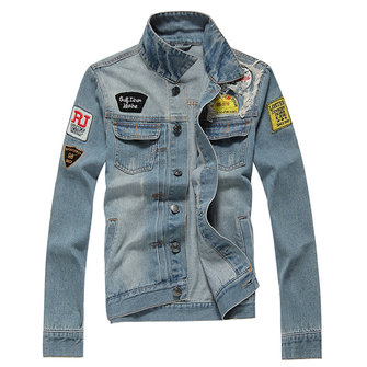 Ripped Stamp Embroidery Trendy Denim Jacket Slim Pop Jeans Coat for Men