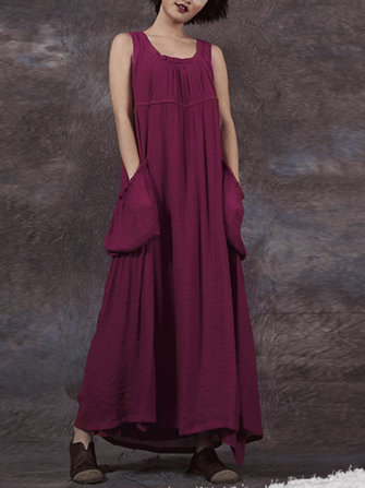 Women Loose Pockets Sleeveless Solid Maxi Dress