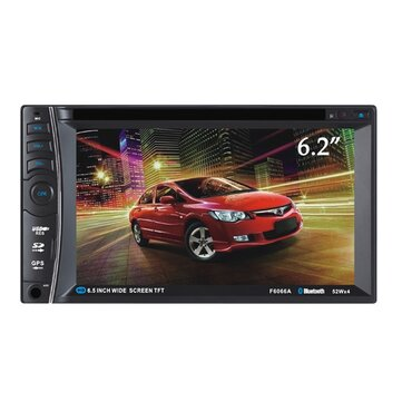 F6066A 6.2 inch 2 DIN Car DVD Stereo MP3 Player Bluetooth Touch TFT Screen AUX IN SD MMC Card Reader