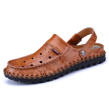 Men Breathable Hollow Out Leather Slippers Sandals