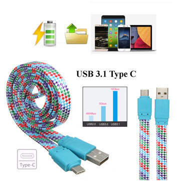 1M Braided USB 3.1 Type C Male to USB 2.0 Data Sync Charger Flat Cable for Phone