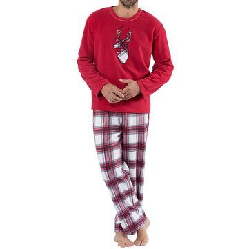 Christmas Plaid Deer Pattern Home Family Holiday Pajamas Set