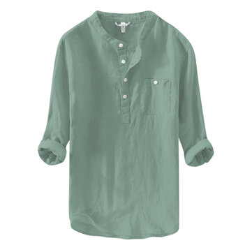 Men's Linen M-4XL Loose Button Pocket Casual T-shirts