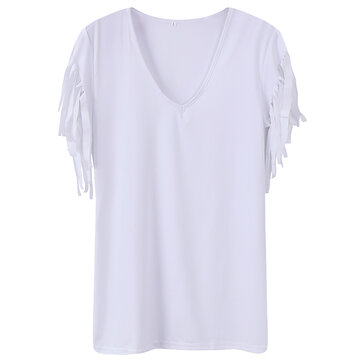 Celmia Women Sexy V-Neck Shirt Sleeveless Blouses Tassels Fitted Tops