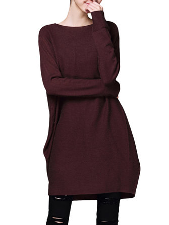 Casual Women Long Sleeve Solid Color Knitted Loose Dress