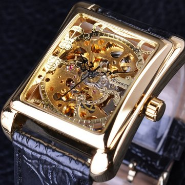 GMT983-1 Self-Wind Mechanical Watch Casual Style Rectangle Dial Stainless Steel Men Watches