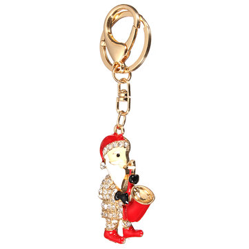 Santa Claus head Rhinestone Metal KeyChain Pendant Purse Bag Car Key Chain Ring