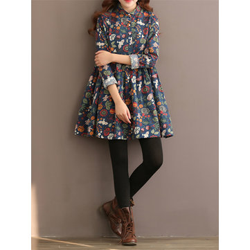 Vintage Women Floral Printed Single-Breasted Long Sleeve Dresses