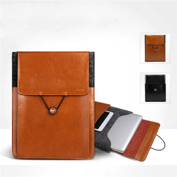 D-PARK Postman Vintage Pouch Bag Genuine Leather Wool Laptop Case for 12 13 15 Inch Laptop Macbook