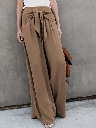 High Waist Front Tie Loose Wide Leg Pants
