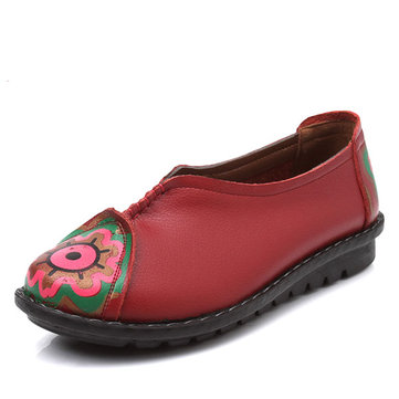 Flower Pattern Soft Leather Slip-ons Lazy Driving Flat Loafers